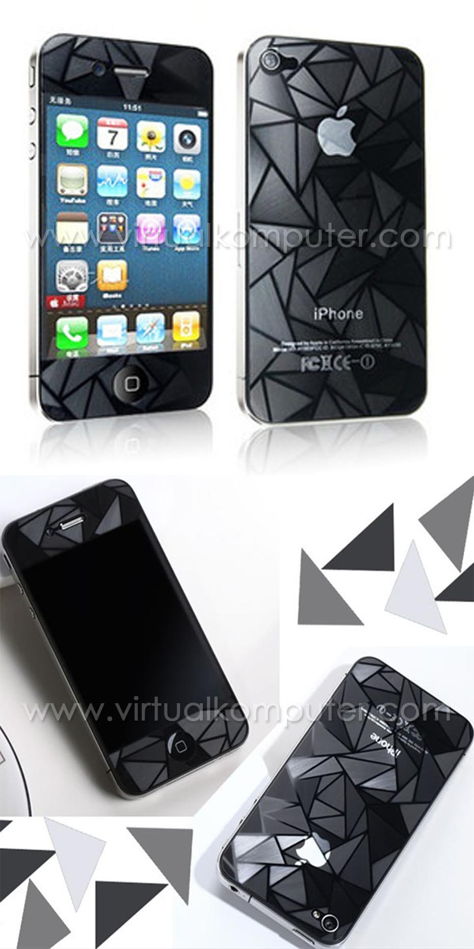 Screen Protector iPhone 4, 4S Front,Back 3D Diamond Overview