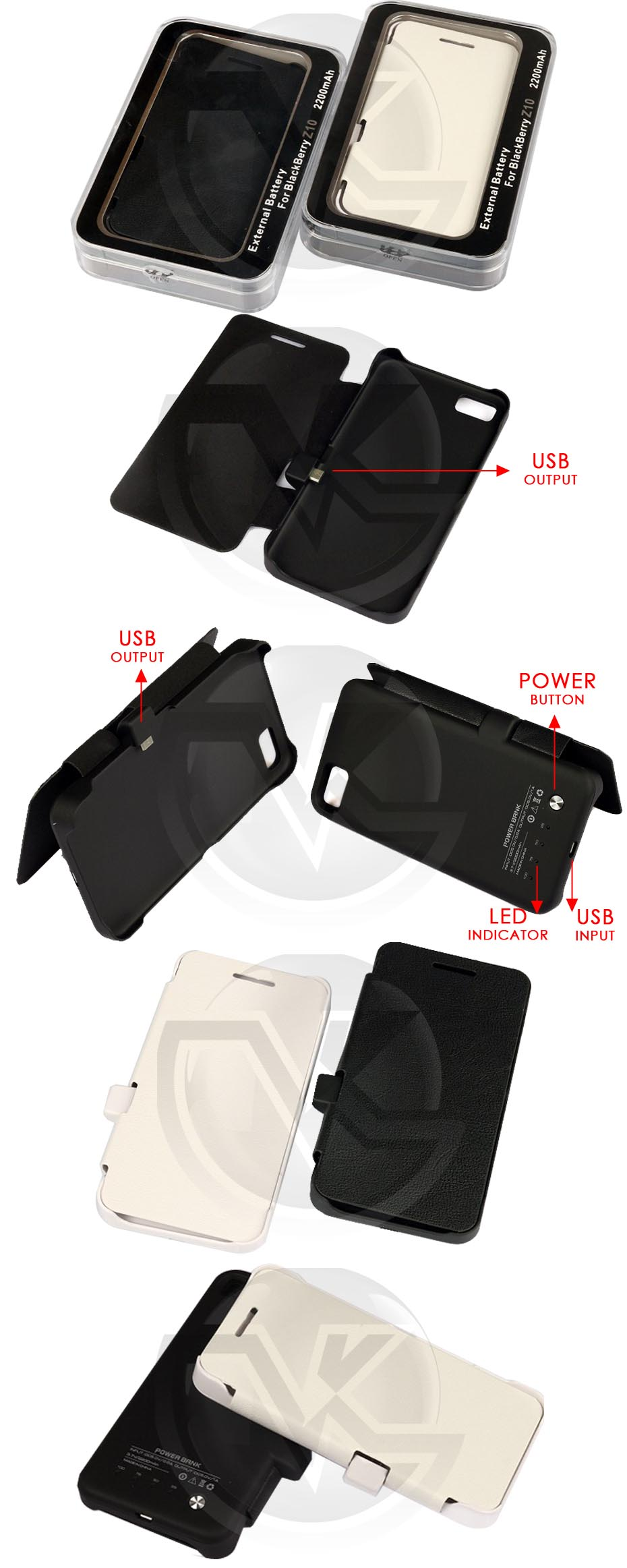 Power Case Flip Cover 2200mAh For Blackberry Z10 Overview