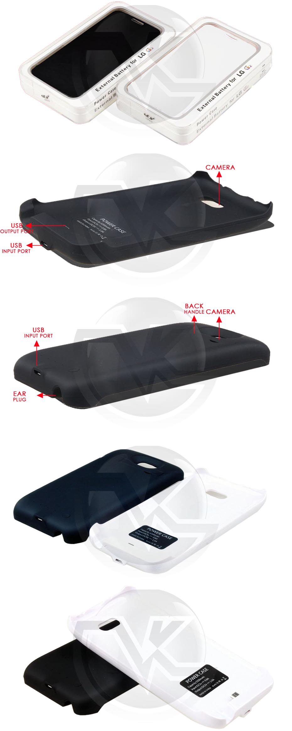 Power Case Flip Cover 3200mAh For LG G2 D800 Overview
