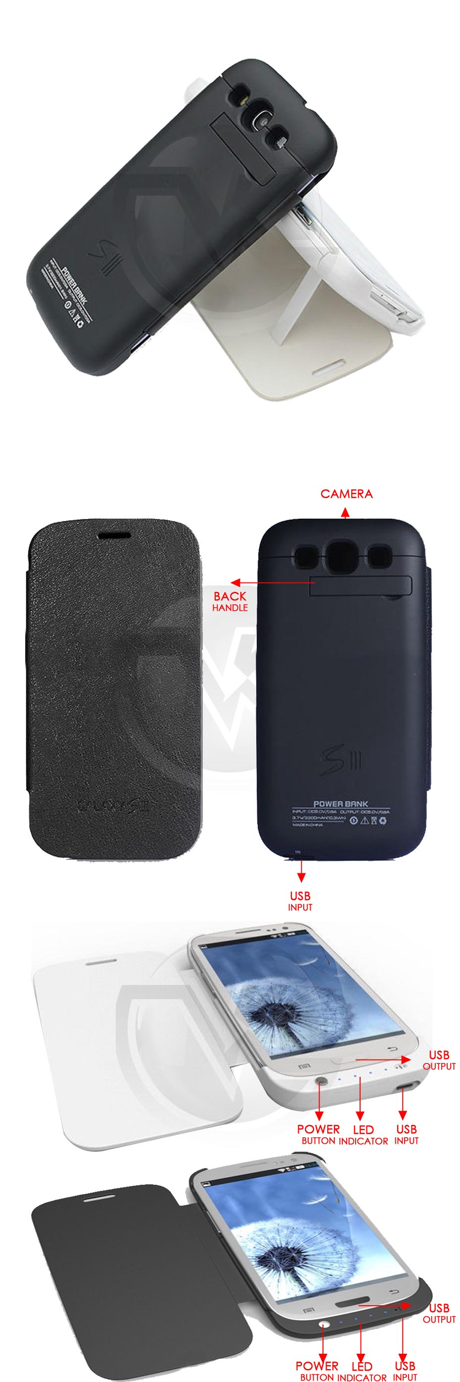 Power Case Flip Cover 3200mAh For Samsung S3 I9300 Overview