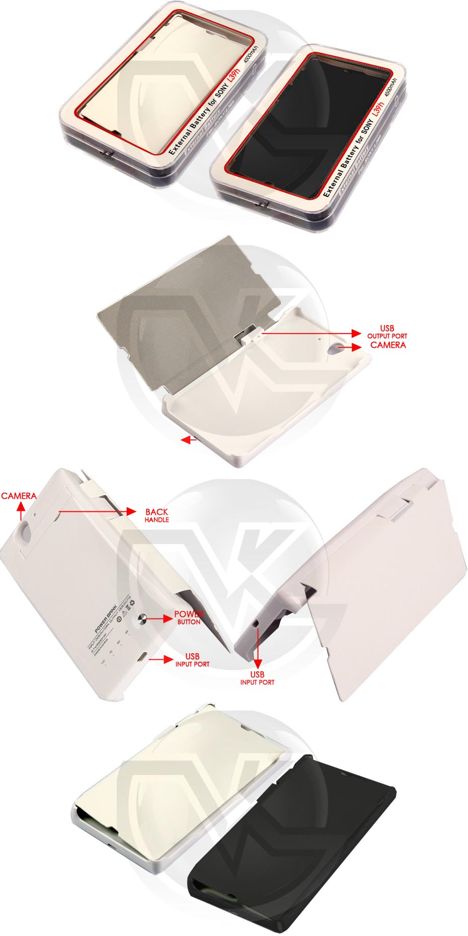 Power Case Flip Cover 4500mAh For Sony Xperia Z1 L39H Overview