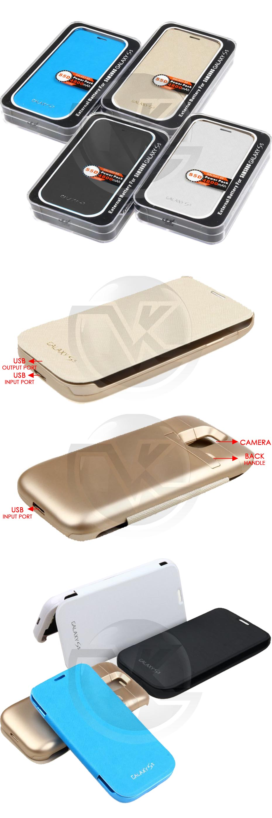 Power Case Flip Cover 4800mAh For Samsung S5 SM-G900 Overview