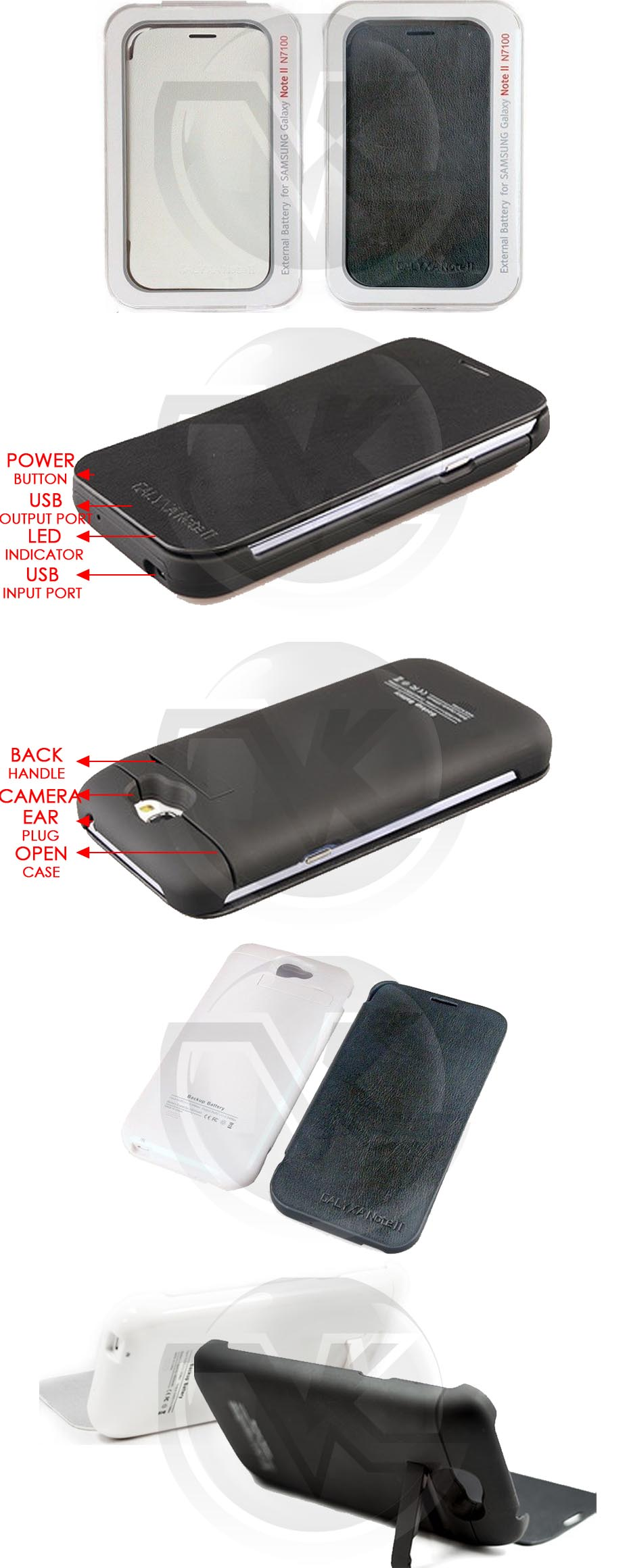 Power Case Flip Cover 4800mAh for Samsung Galaxy Note2 N7100 Overview
