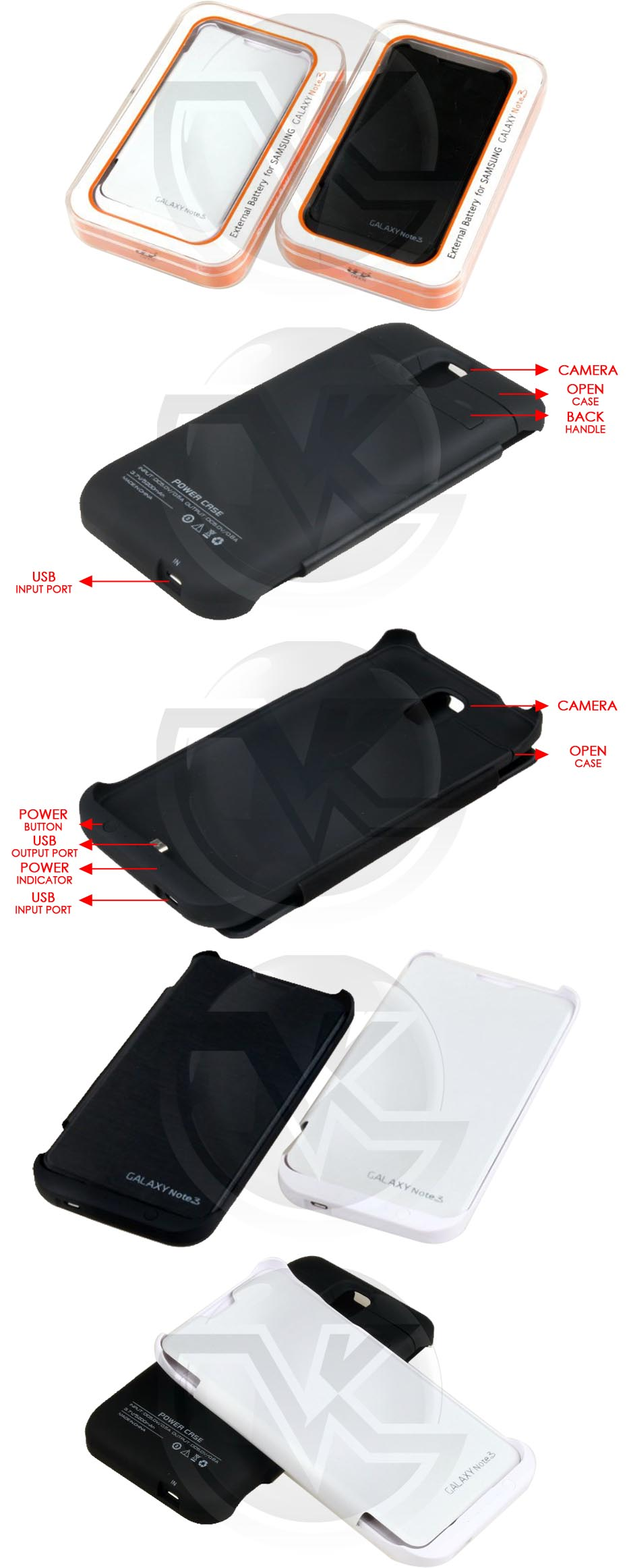 Power Case Flip Cover 5200mAh For Samsung Note3 N9000 Overview
