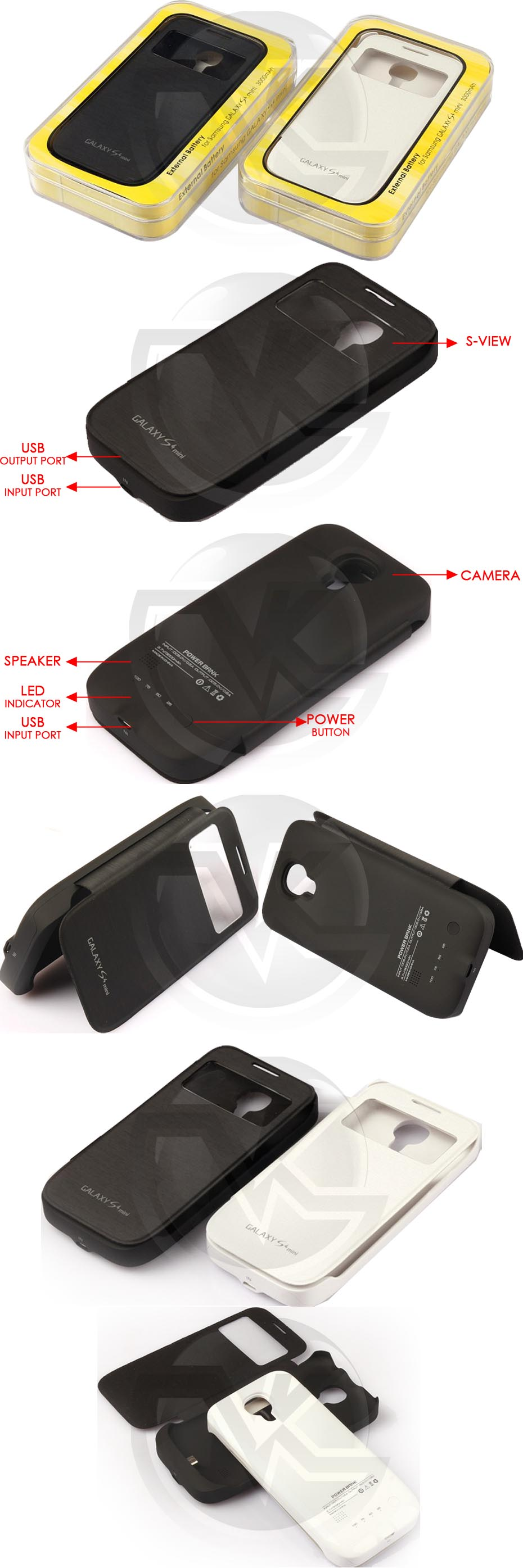 Power Case Flip Cover S-View 3000mAh For Samsung S4 MiniI 9190 Overview