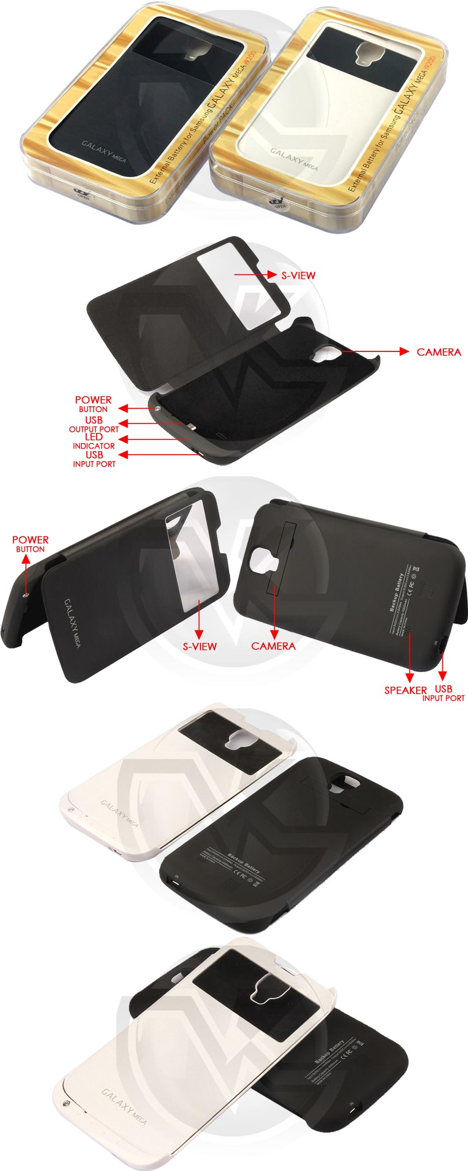 Power Case Flip Cover S-View 4000mAh for Samsung Galaxy Mega 6.3 I9200 Overview