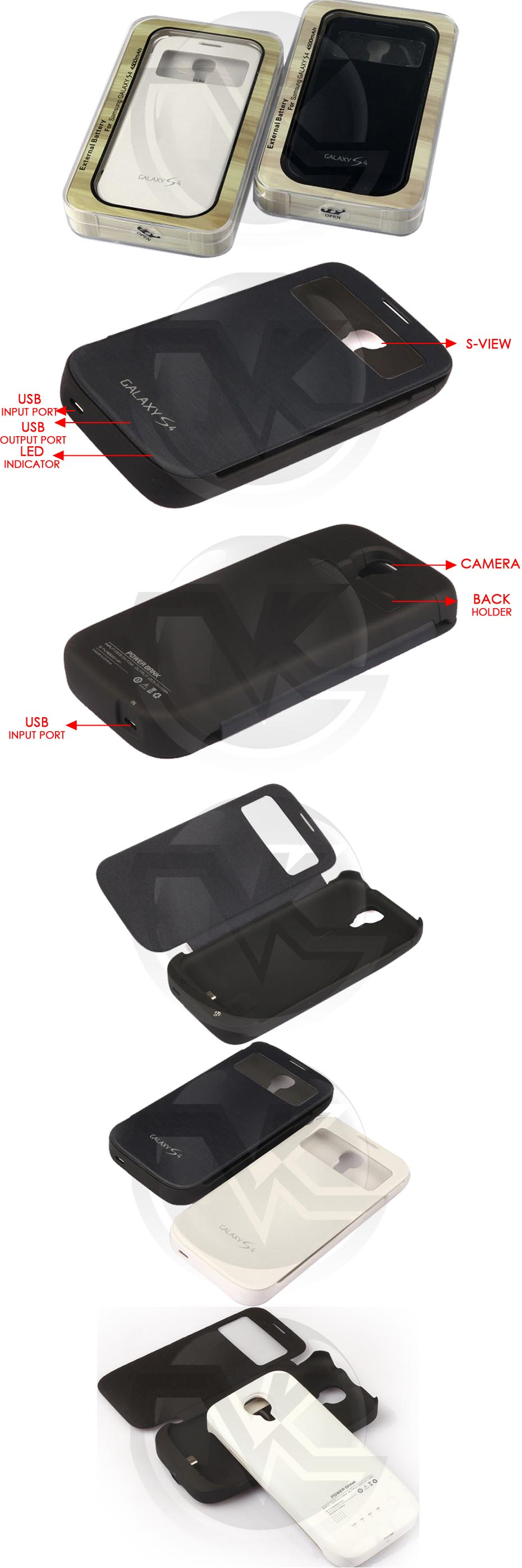 Power Case Flip Cover S-View 4500mAh For Samsung S4 I9500 Overview