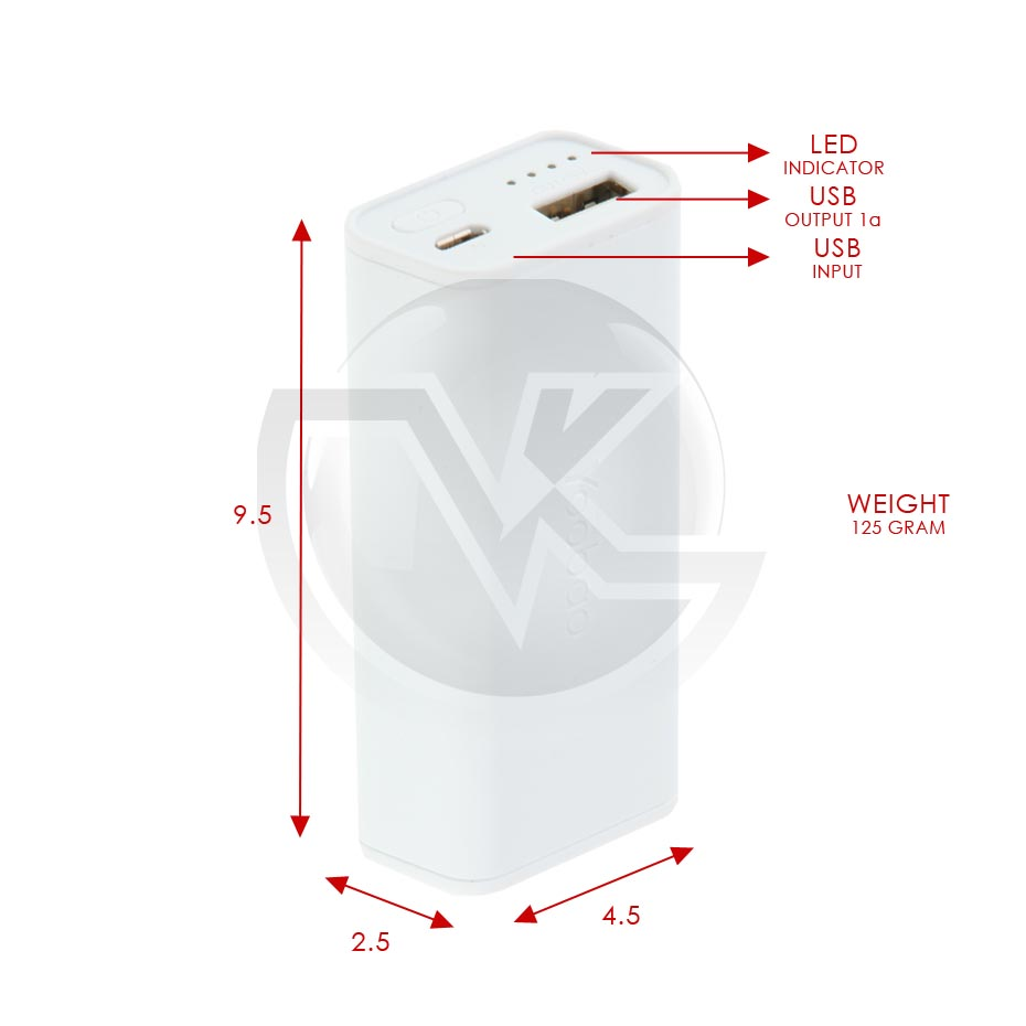 Powerbank Yoobao 5200mAh Simple YB-6002 Overview