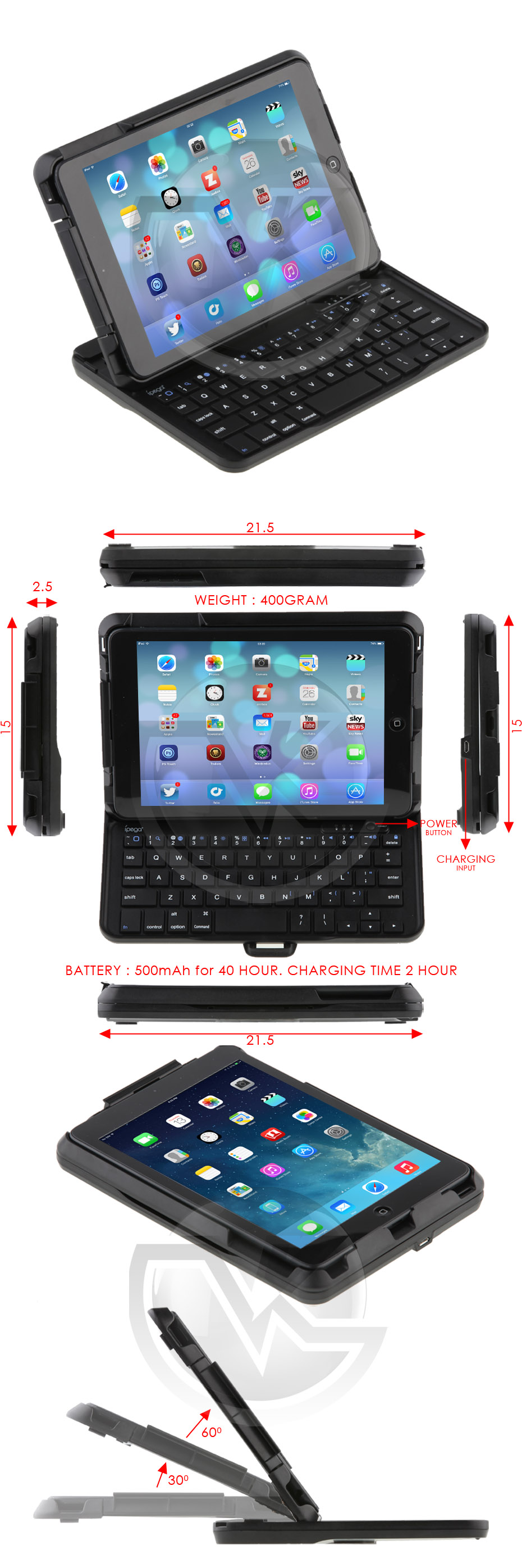 iPad Mini Keyboard Slide Case Stand PG-IPM015 Overview