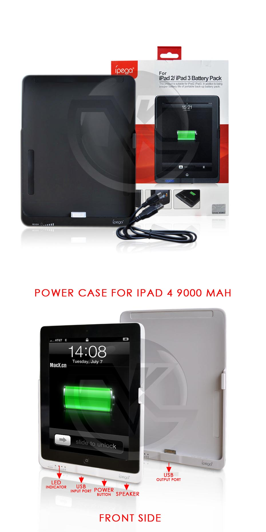 iPega Power Case for iPad 2, 3 9000mAh PG-IP118 Overview
