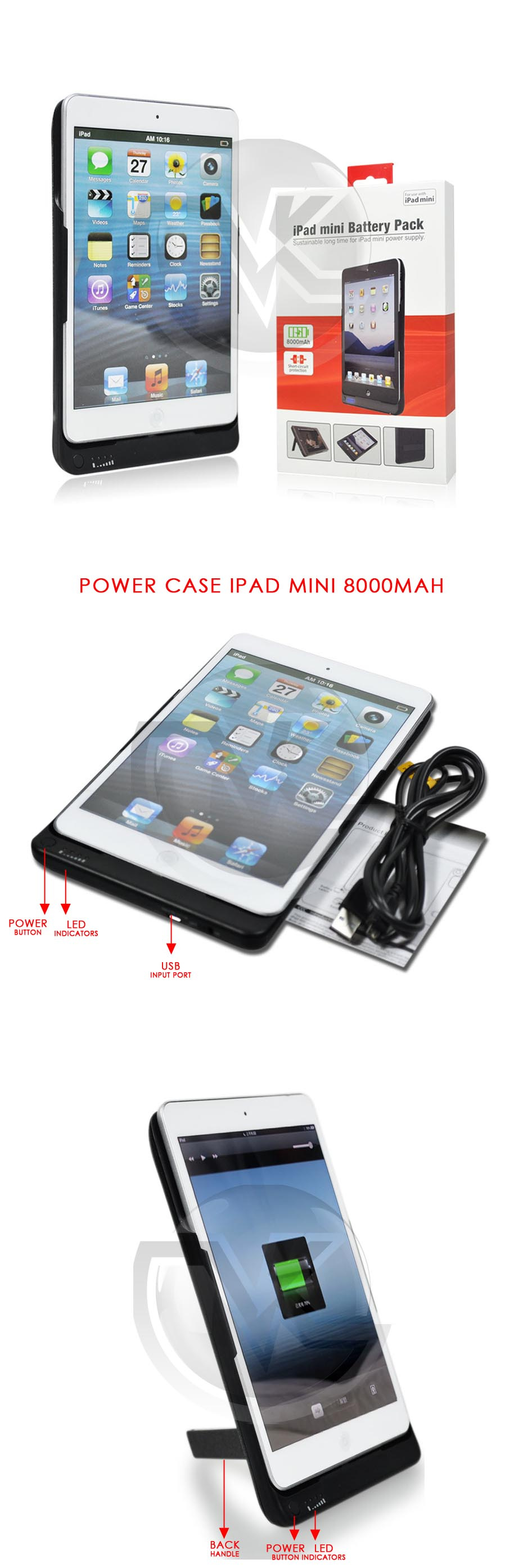 iPega Power Case for iPad Mini 8000mAh PG-IPM019 Overview
