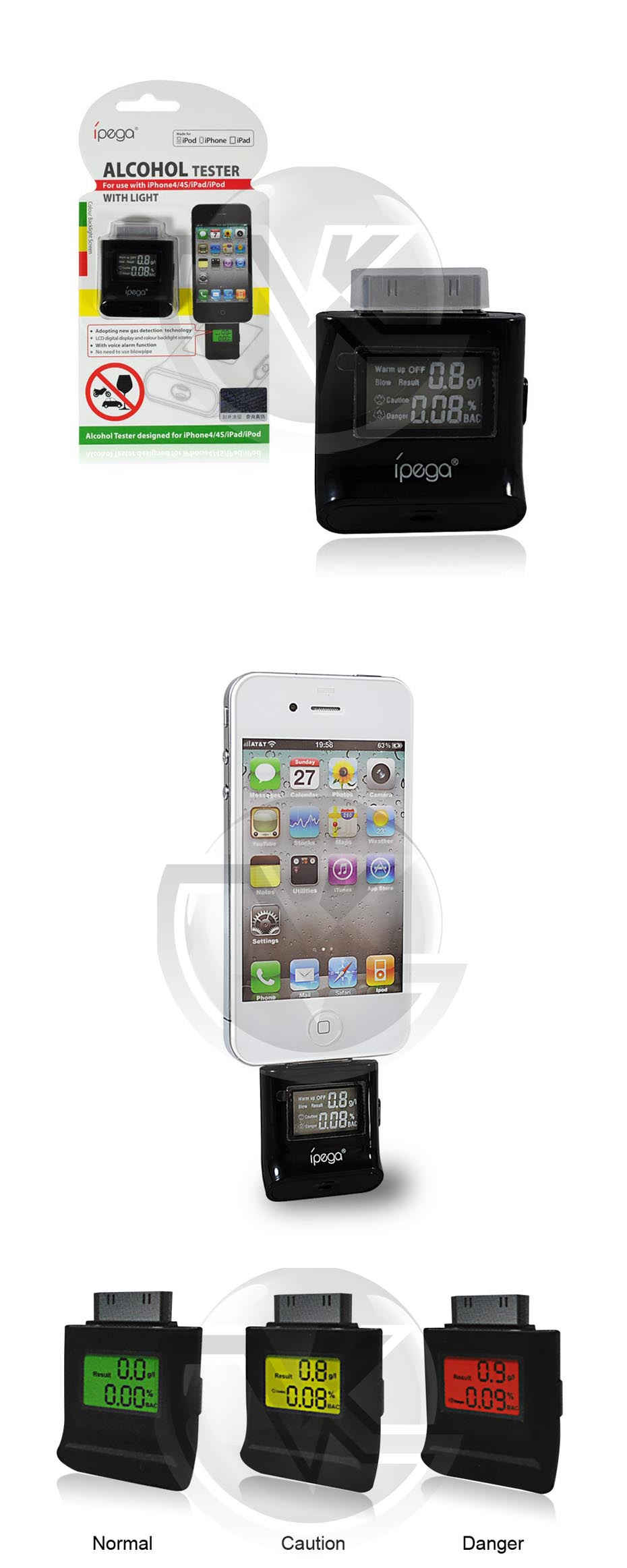 iPhone 4 Alcohol Tester iPega PG-IH209 Overview