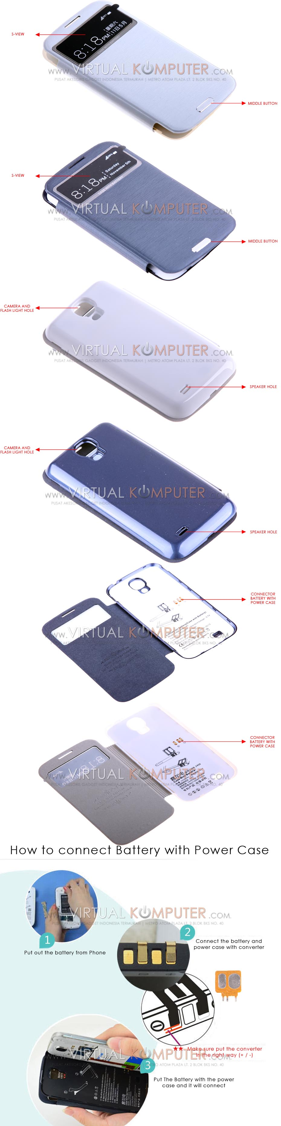 Keva Power Case Flip Cover S-View 2400mAh For Samsung Galaxy S4 I9500 Overview