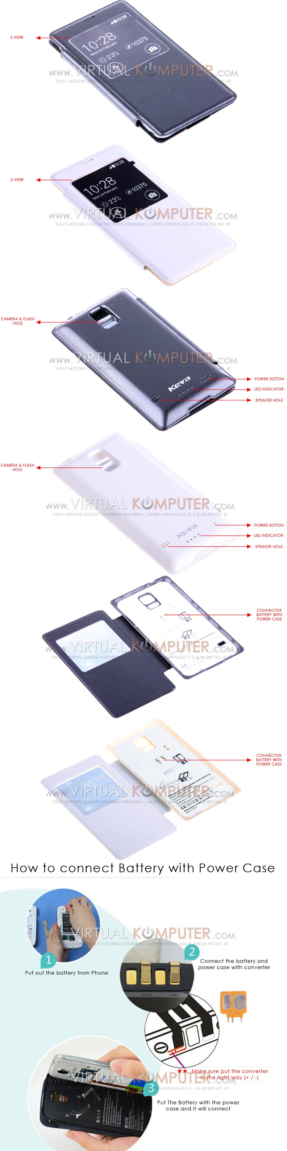 Keva Power Case Flip Cover S-View 2400mAh For Samsung Galaxy S5SM-G900 Overview