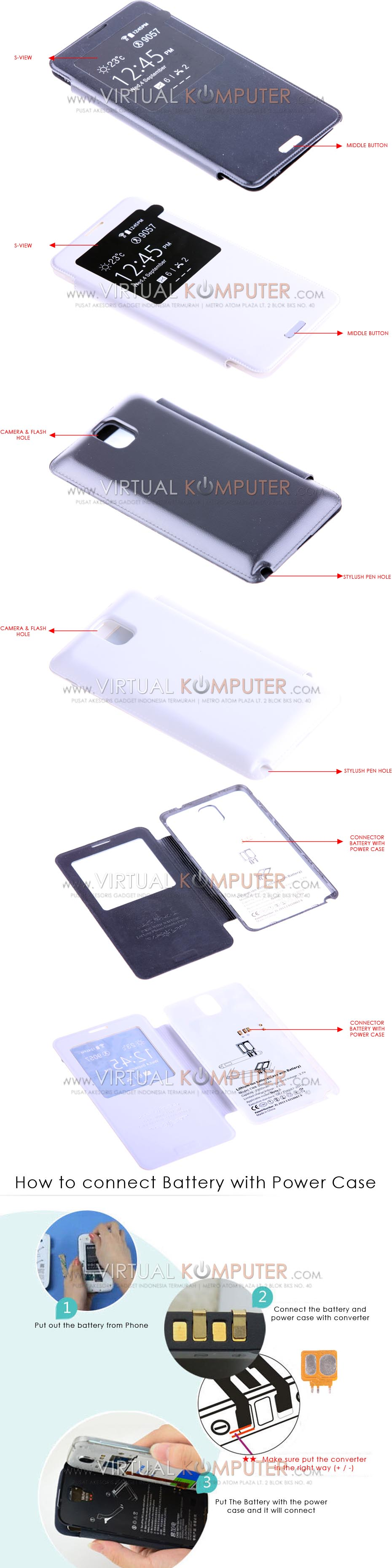 Keva Power Case Flip Cover S-View 2900mAh For Samsung Galaxy Note3 N9000 Overview