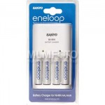 Sanyo Charger Basic + 4 AA Eneloop (Wall Plug In) + Case