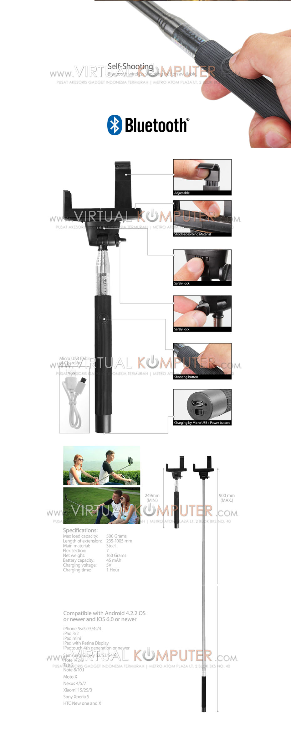 Areahp Tongsis Mobile Monopod Remote Bluetooth 3 In 1 Tripod Shutter Overview