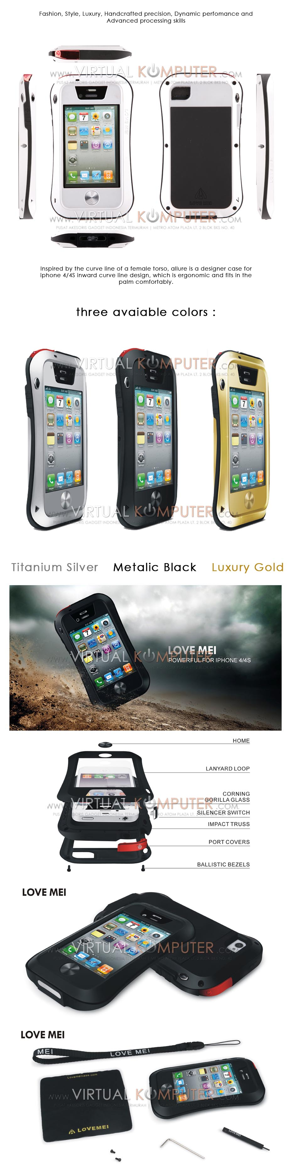 Love Mei Powerful Small Waist Upgrade Version For iPhone 4,4S Overview