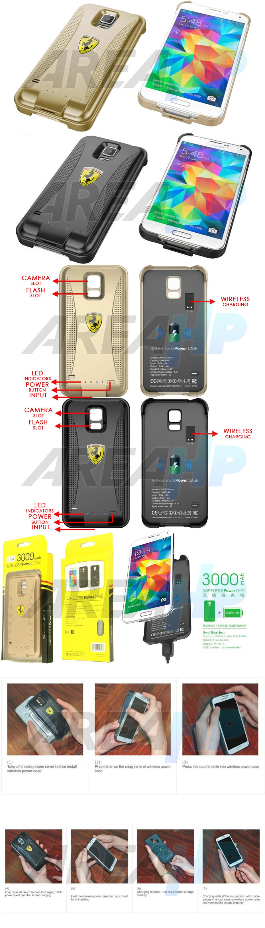 Keva Power Case Wireless 3000mAh For Samsung Galaxy S5 SM-G900 Overview