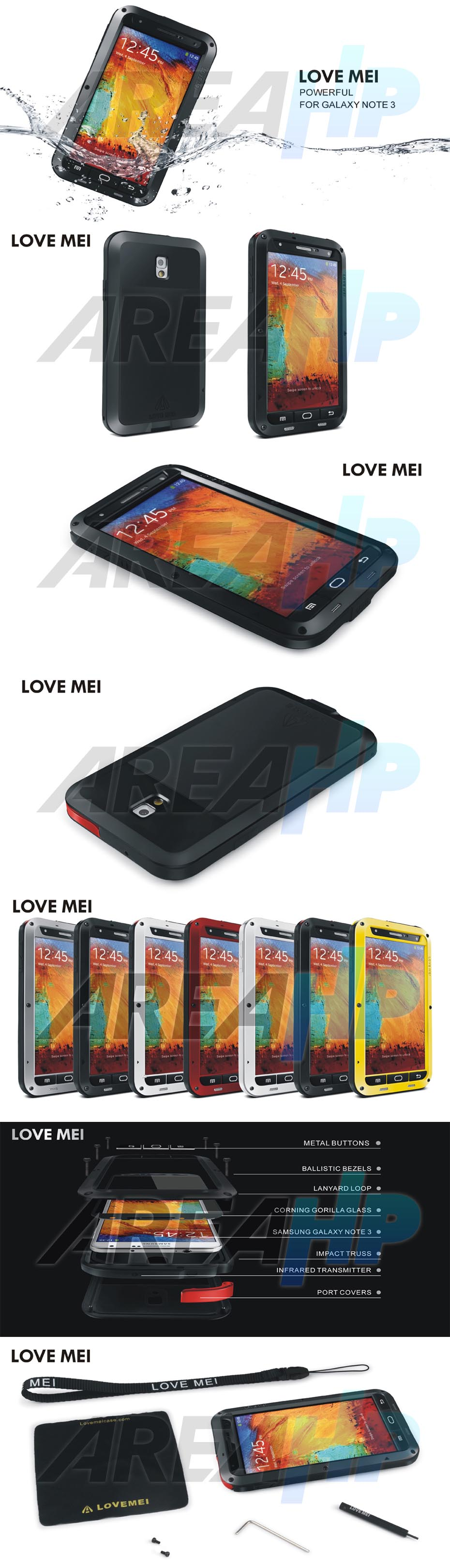 Love Mei Powerful Case for Samsung Note3 N9000 Overview