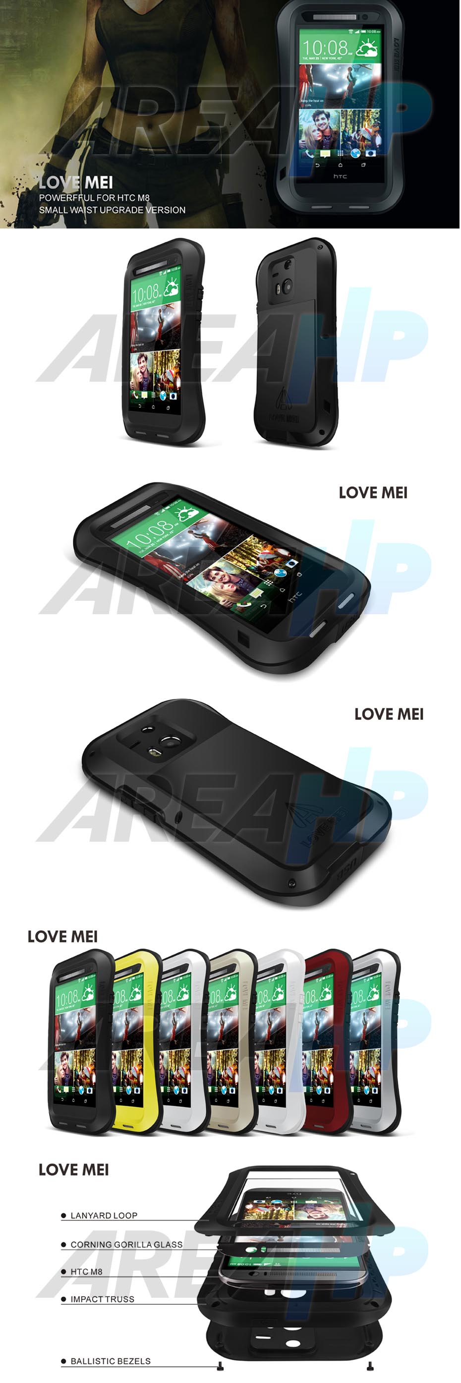 Love Mei Powerful Small Waist Upgrade Version for HTC One M8 Overview