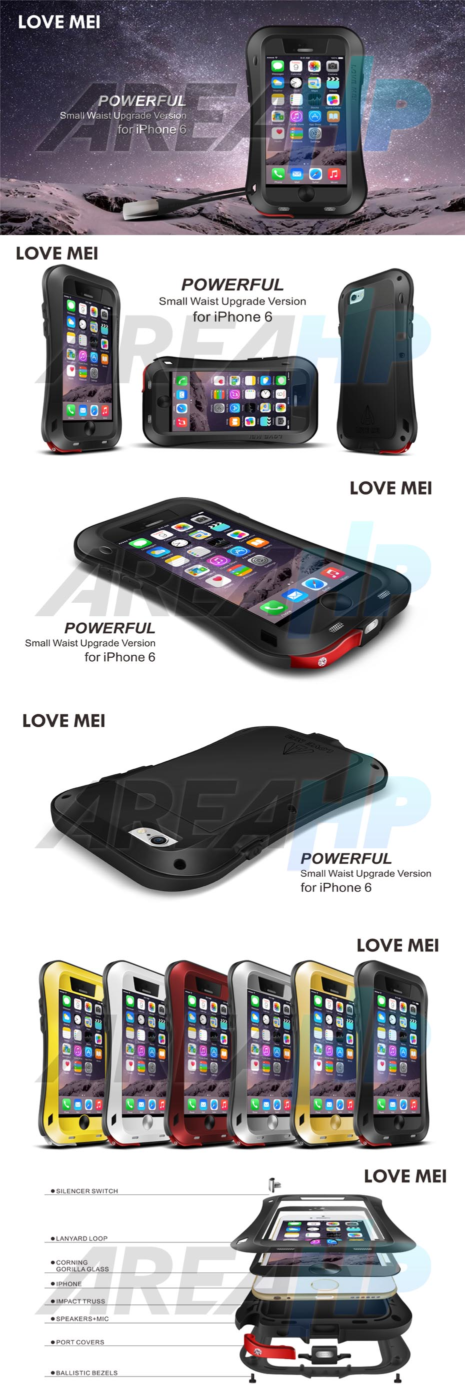 Love Mei Powerful Small Waist Upgrade Version for iPhone 6 Overview