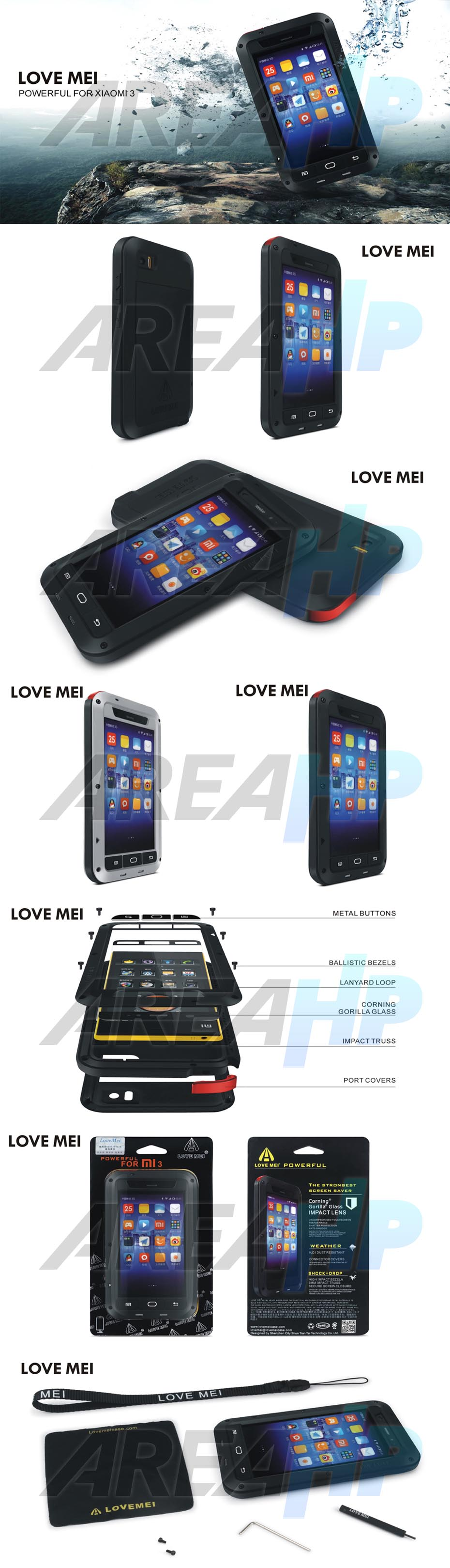 Love Mei Powerful Case for Xiao Mi 3 Overview