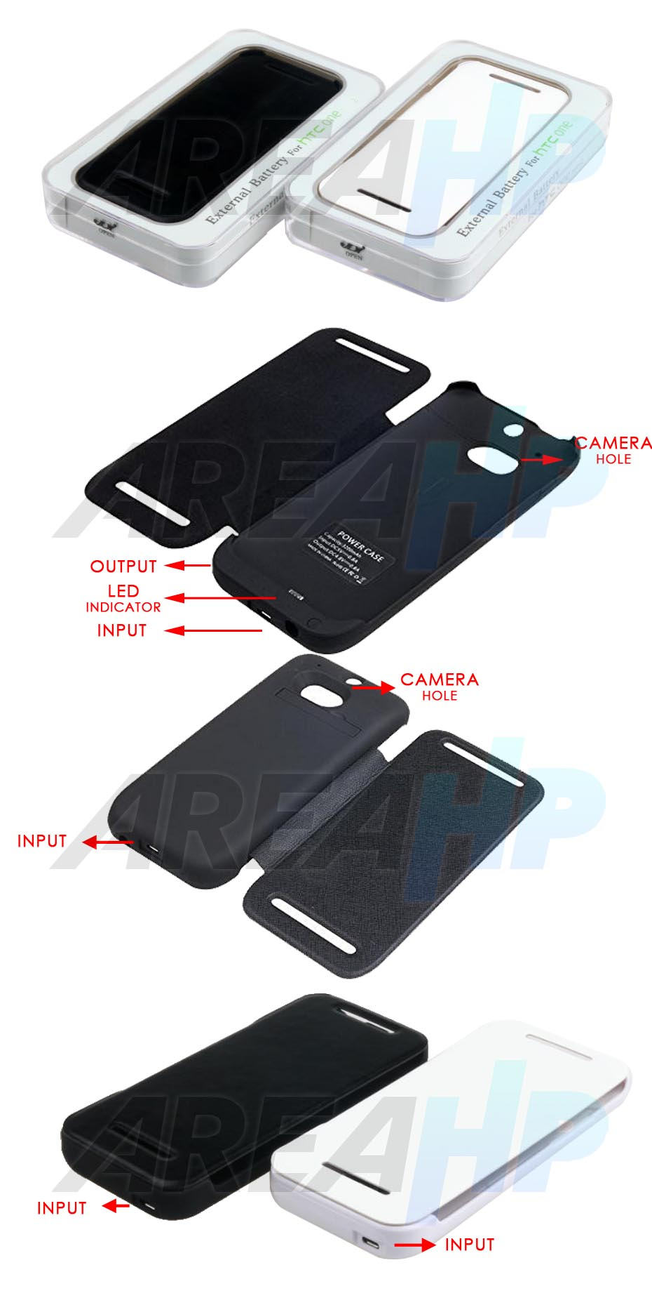 Power Case Flip Cover 4500mAh For HTC ONE M8 Overview