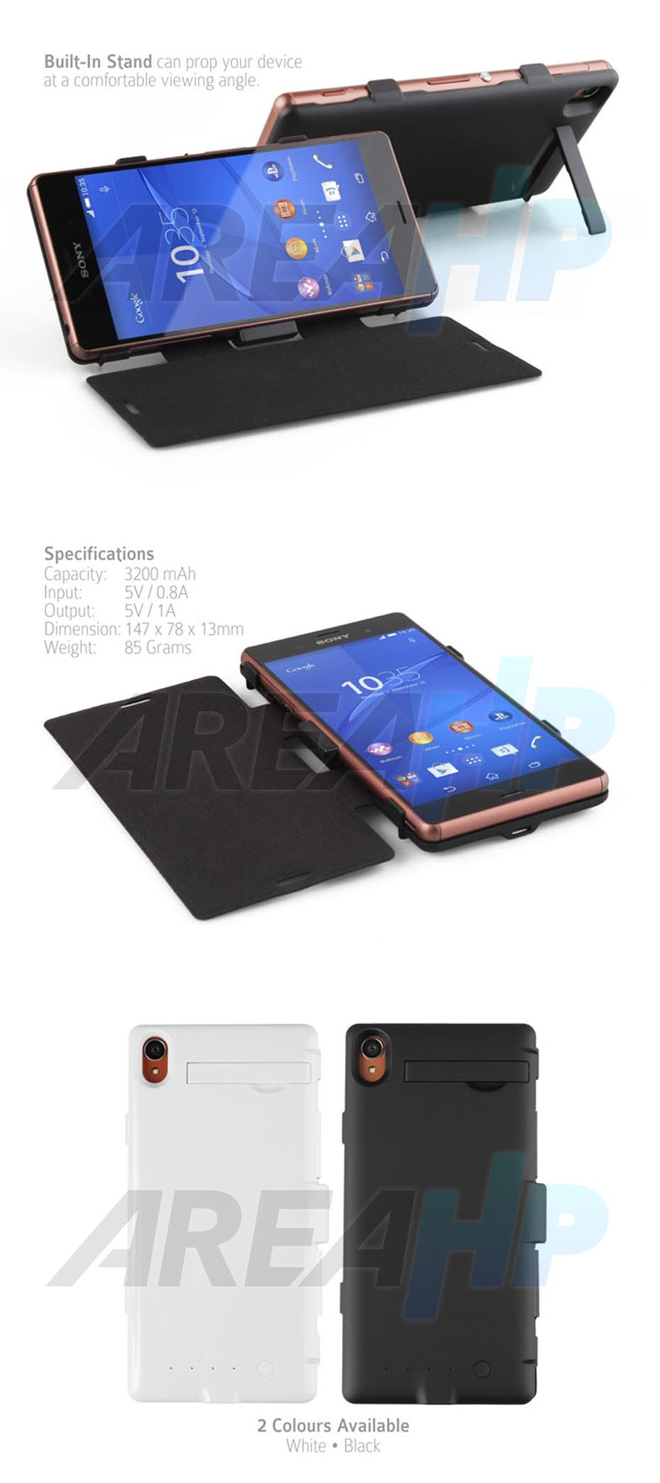 Power Case Flip Cover 3200mAh For Sony Xperia Z3 Overview