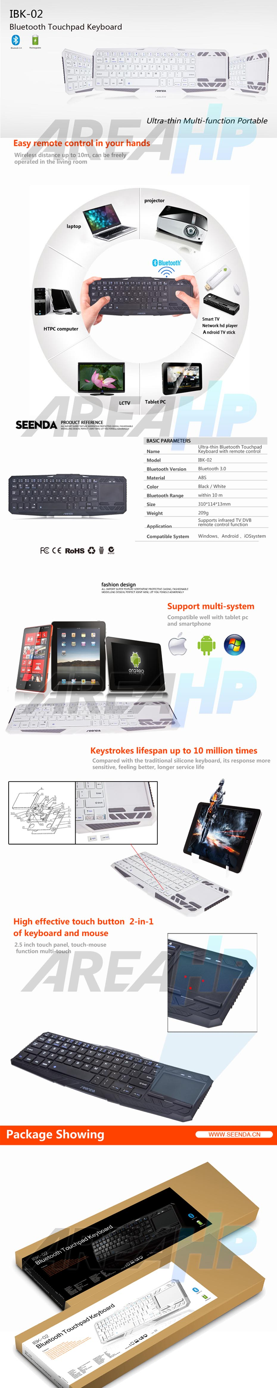 Universal Bluetooth Touchpad Keyboard for All Tablet IOS, Android, Windows Overview