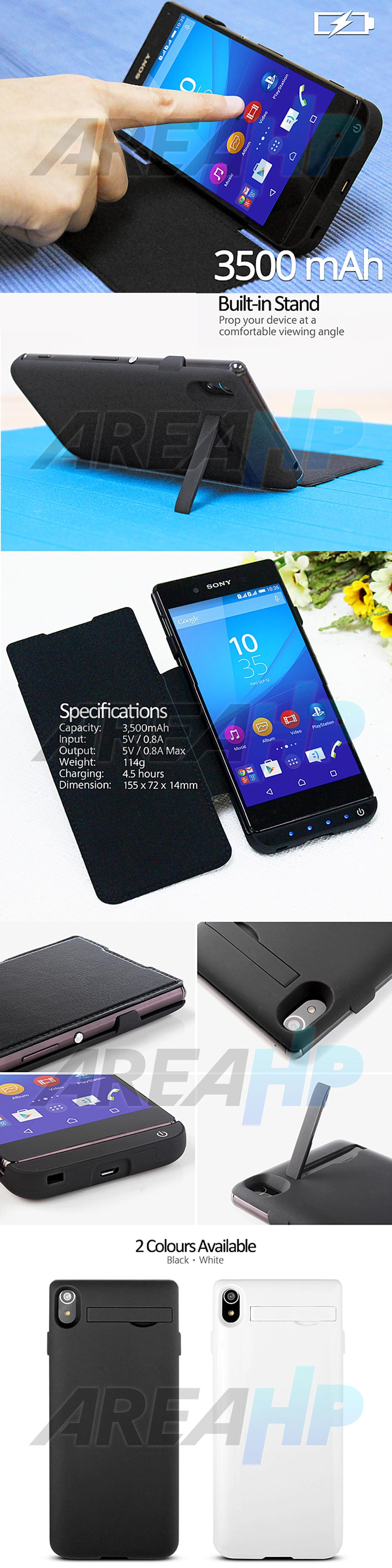 Power Case Flip Cover 3500mAh For Sony Xperia Z3+ Z4 Overview