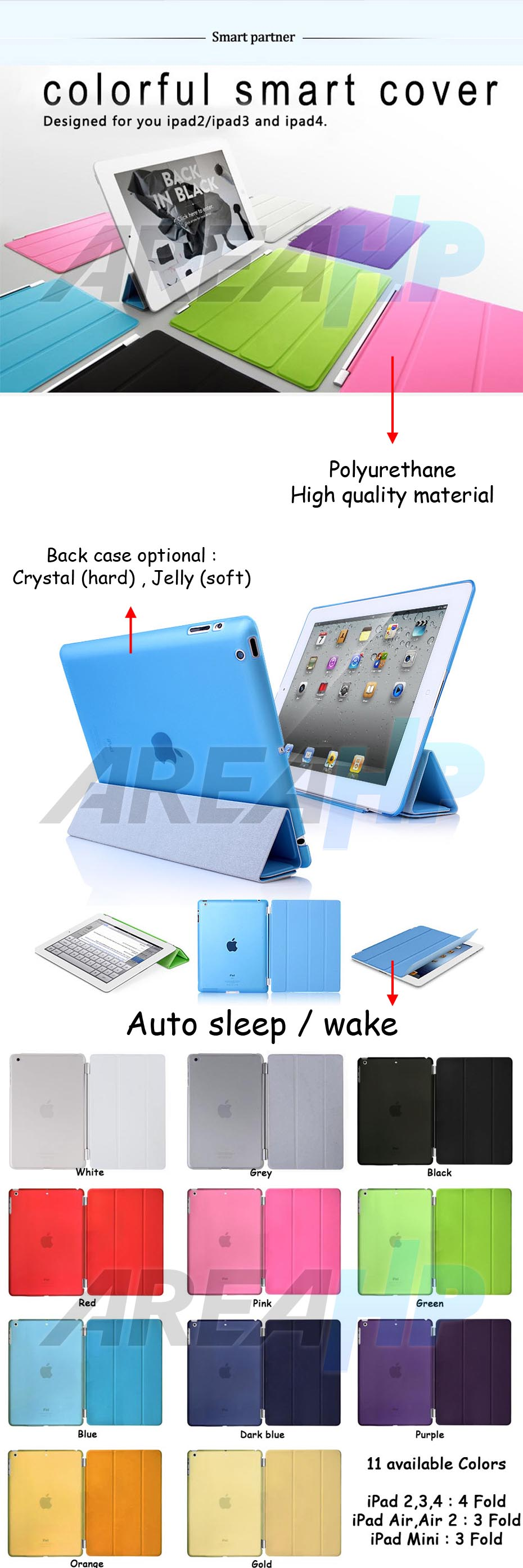Smart Case (Polyurethane) for iPad 2, 3, 4 Overview