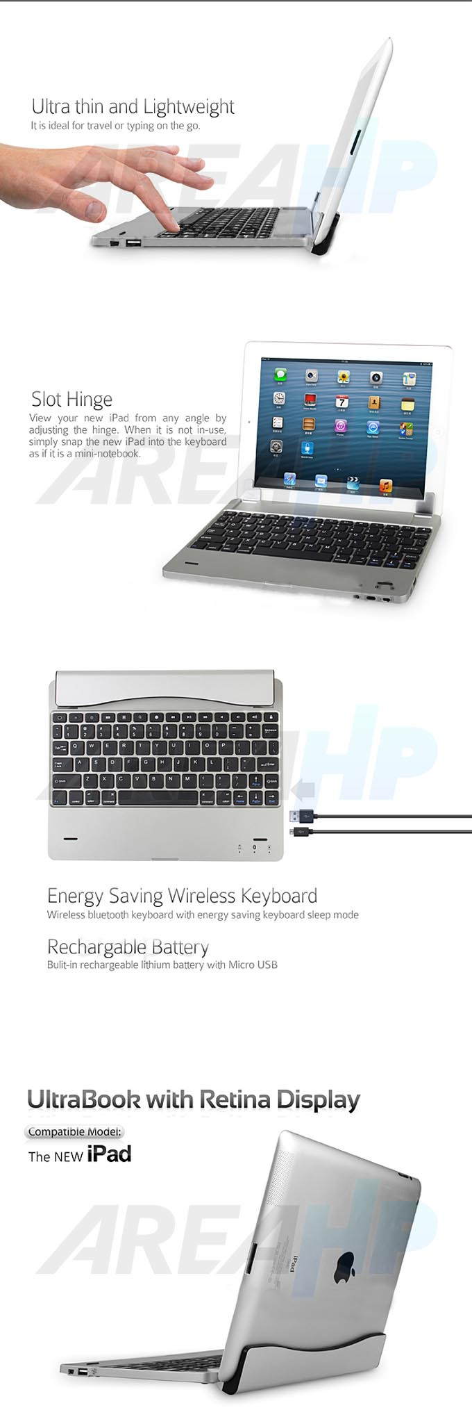 Ultra Slim Keyboard Cover for iPad 2, 3, 4 Overview