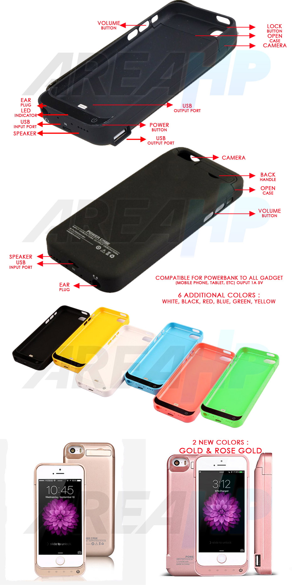 Power Case 4200mAh For iPhone 5, 5C, 5S, SE Overview