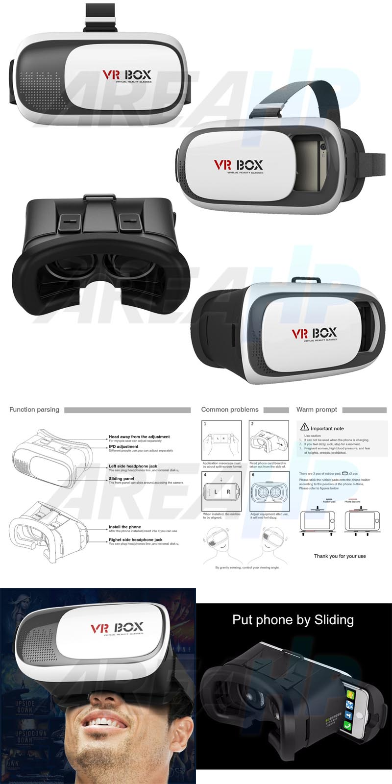 VR Box Case Glass Virtual Reality 3D Version RK 3 Plus + Overview