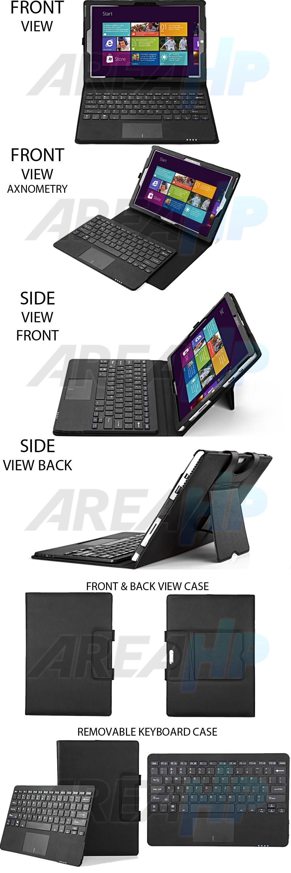 Seenda Removable Keyboard Leather Case for Microsoft Surface Pro 3, 4 Overview