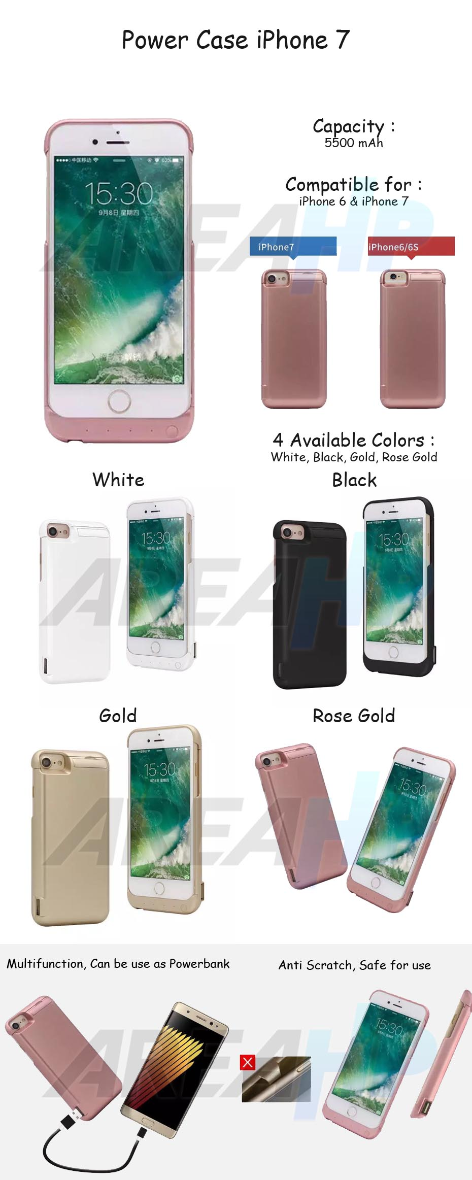 Power Case 5500mAh For iPhone 7 Overview
