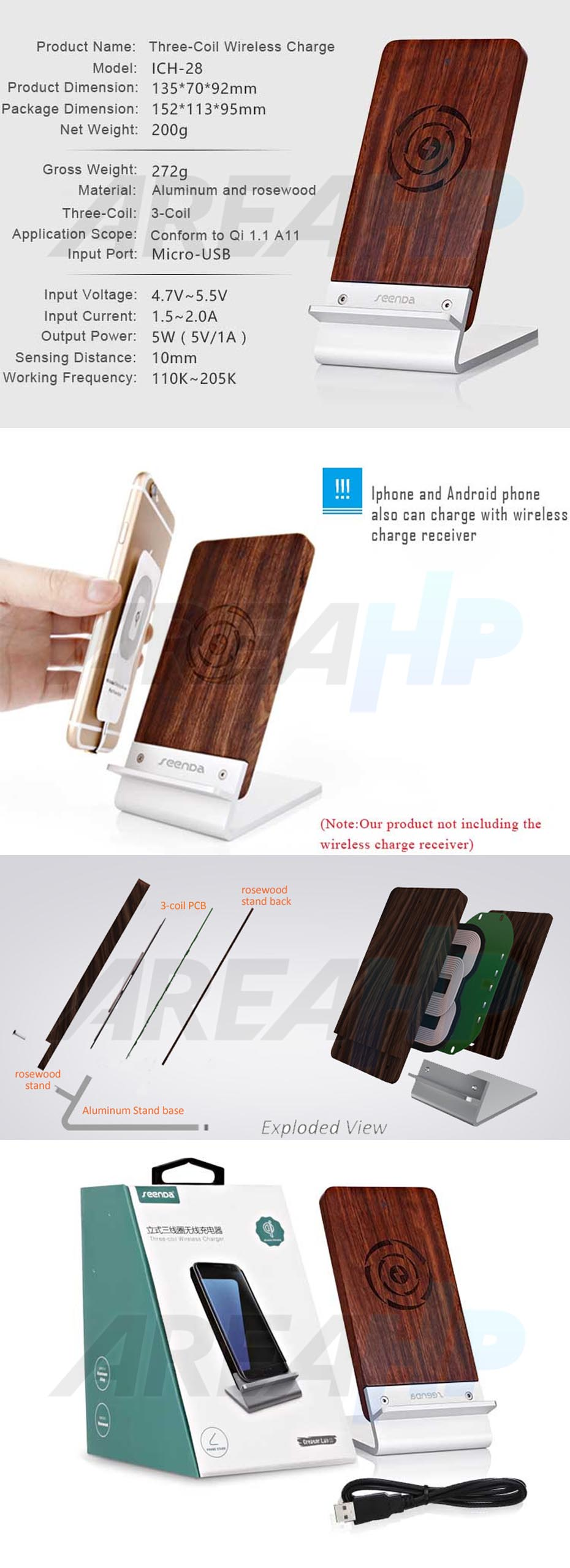 Seenda Wireless Charging Wood Stand ICH-28 Overview