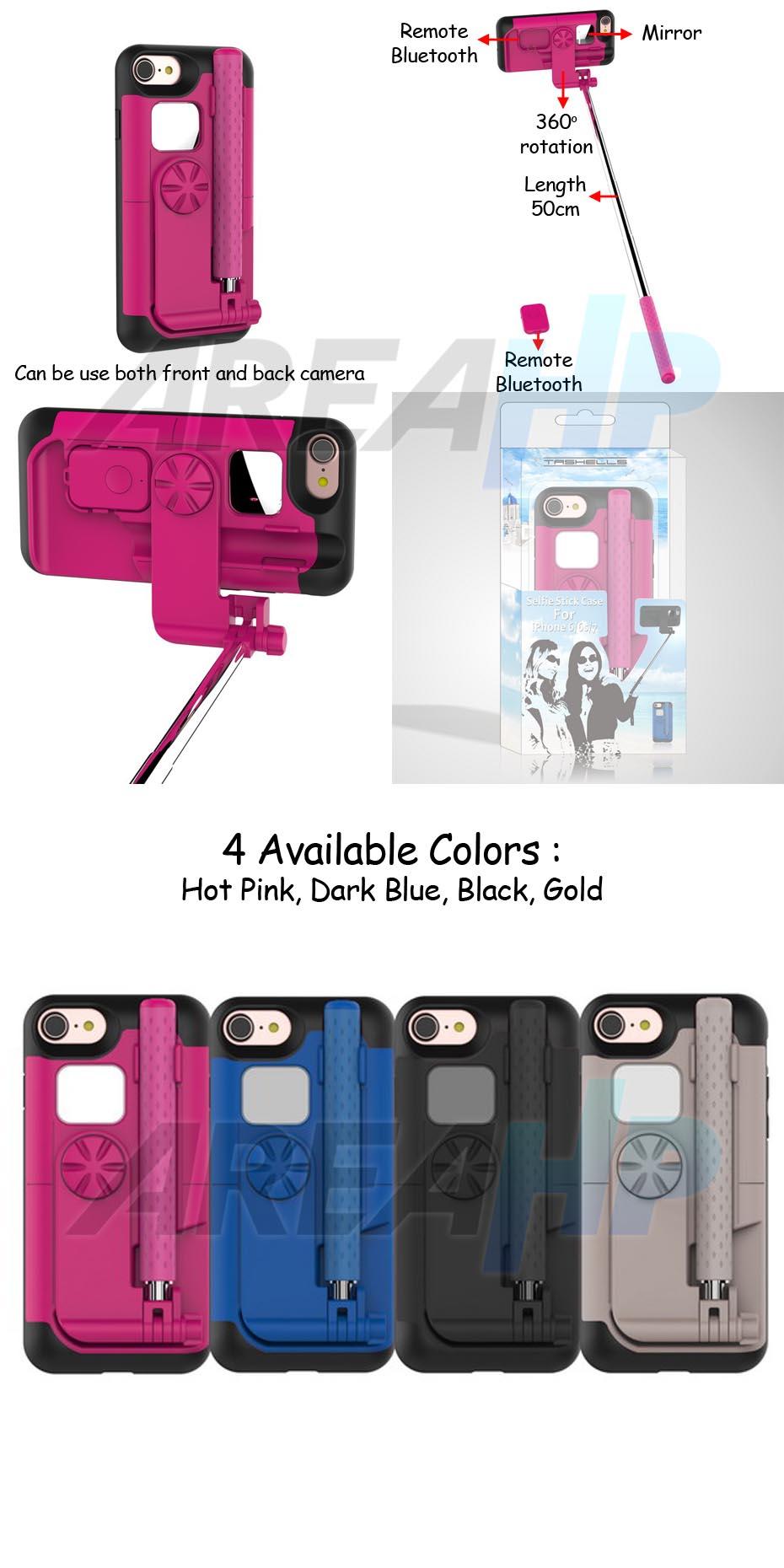 areahp tashells built in selfie stick case bluetooth for iphone 7. Black Bedroom Furniture Sets. Home Design Ideas