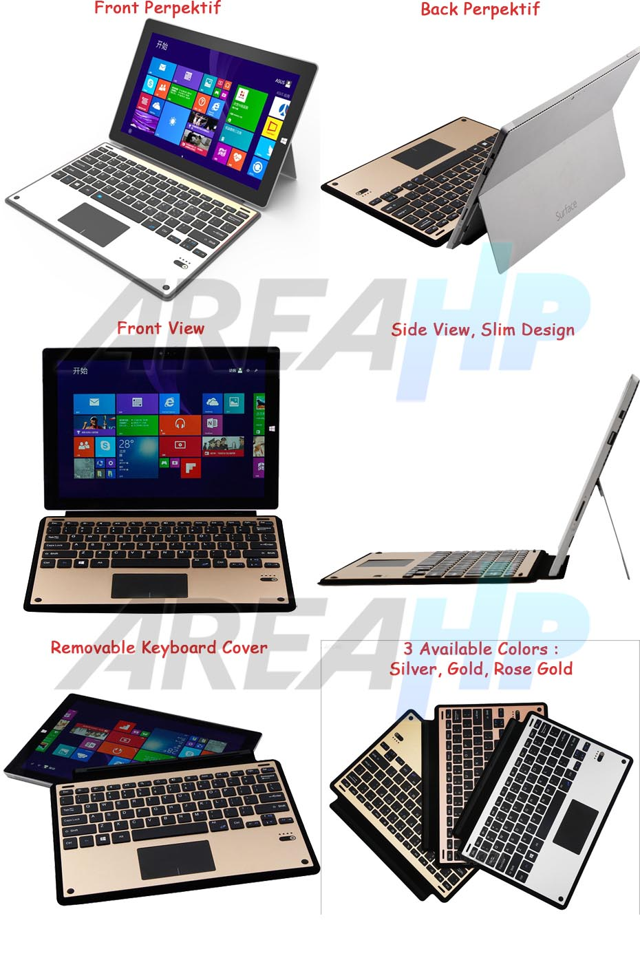 Ultra Slim Keyboard Cover for Microsoft Surface Pro 3, 4 Overview