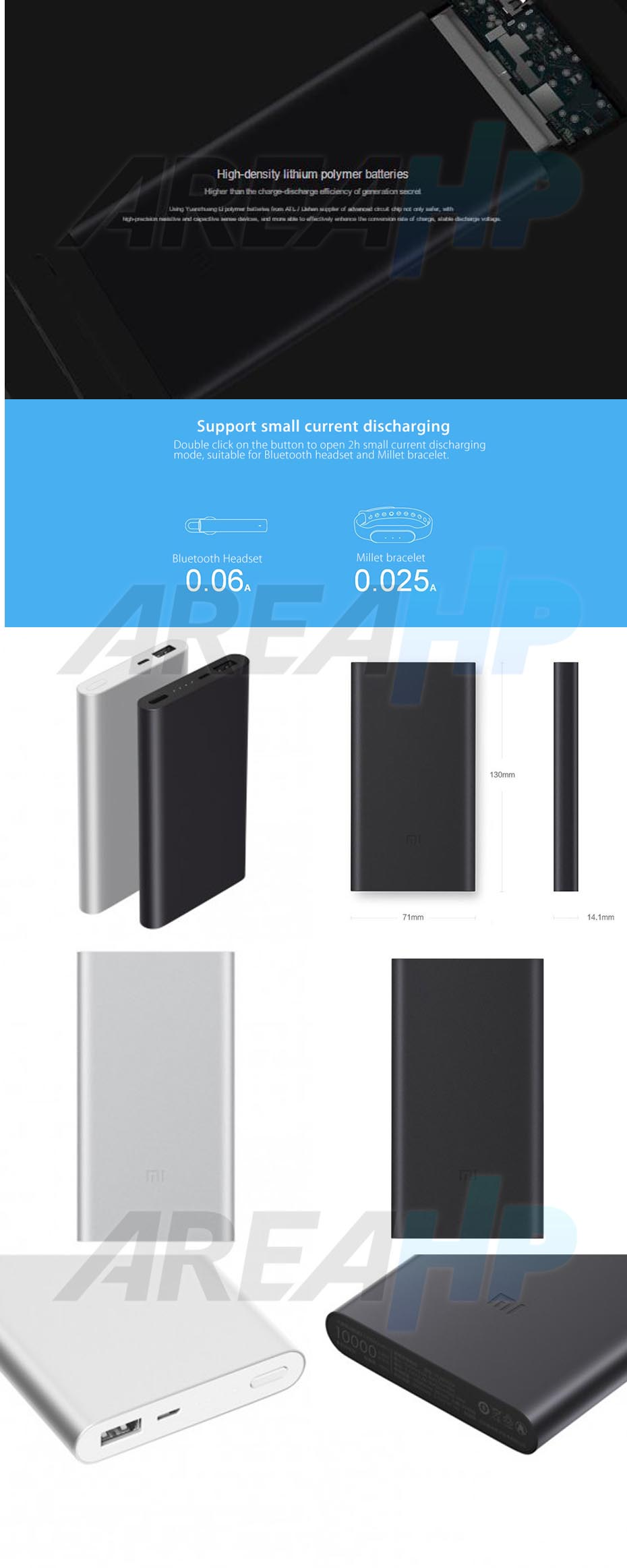 areahp powerbank xiaomi pro 2 10000mah fast charger