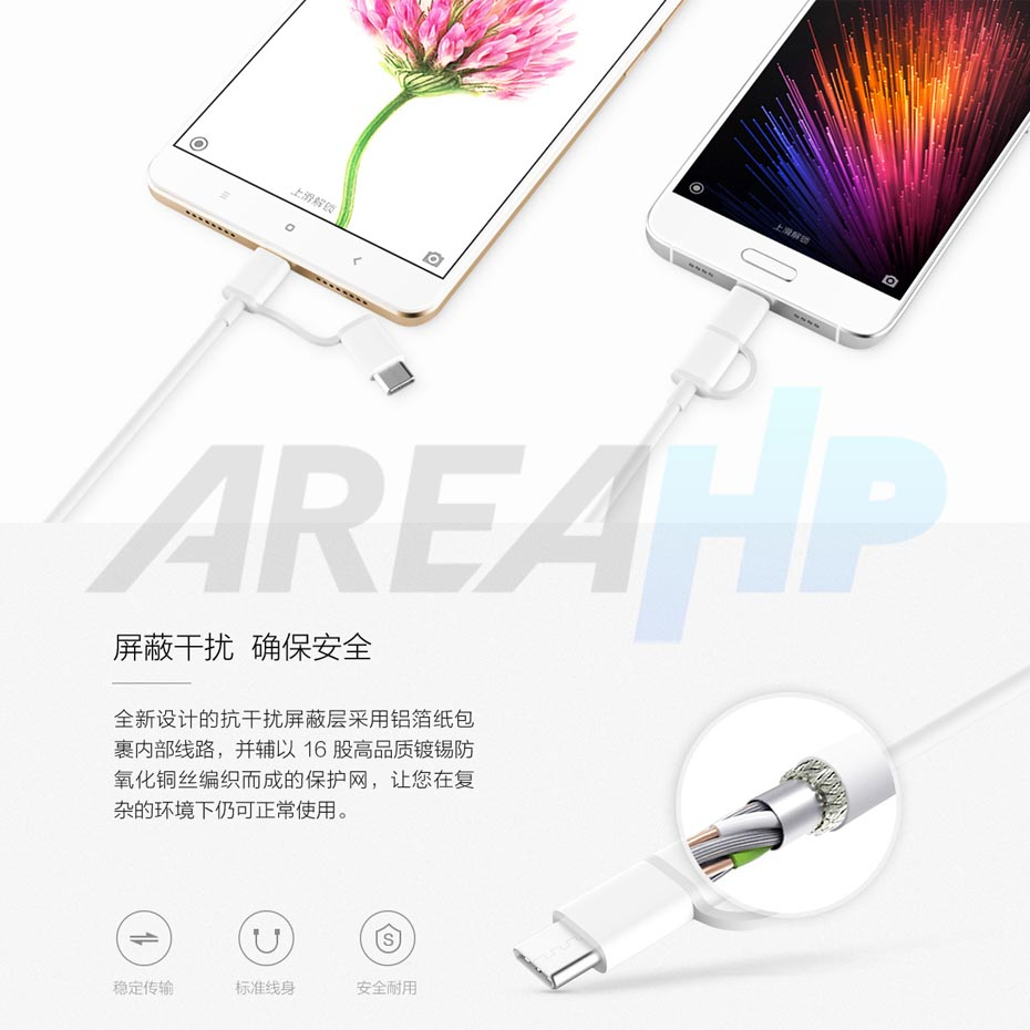 Xiaomi 2 in 1 Micro USB + Type C Cable (Original), Length 1 m Overview