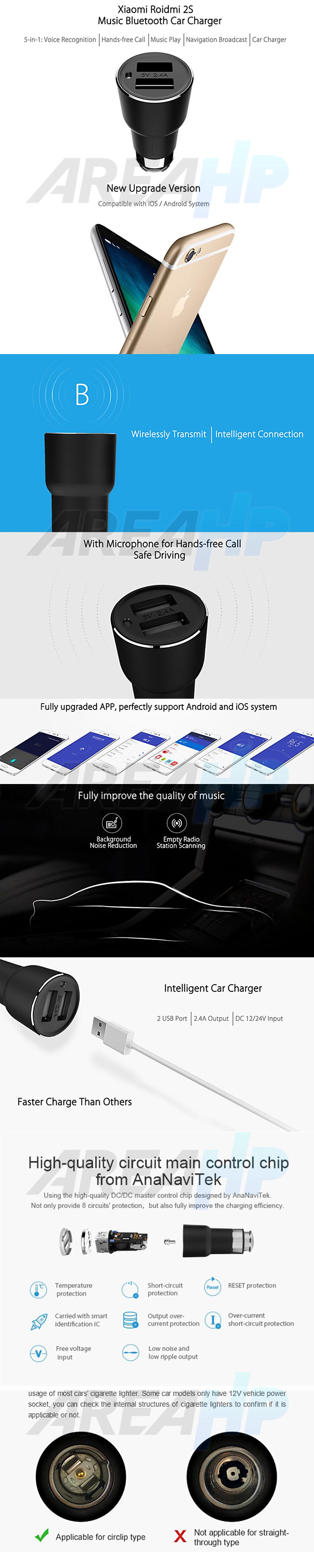 Xiaomi Mi Roidmi 2S Fast Car Charger 2 Slot USB for All Phone, Tablet (Original) Overview