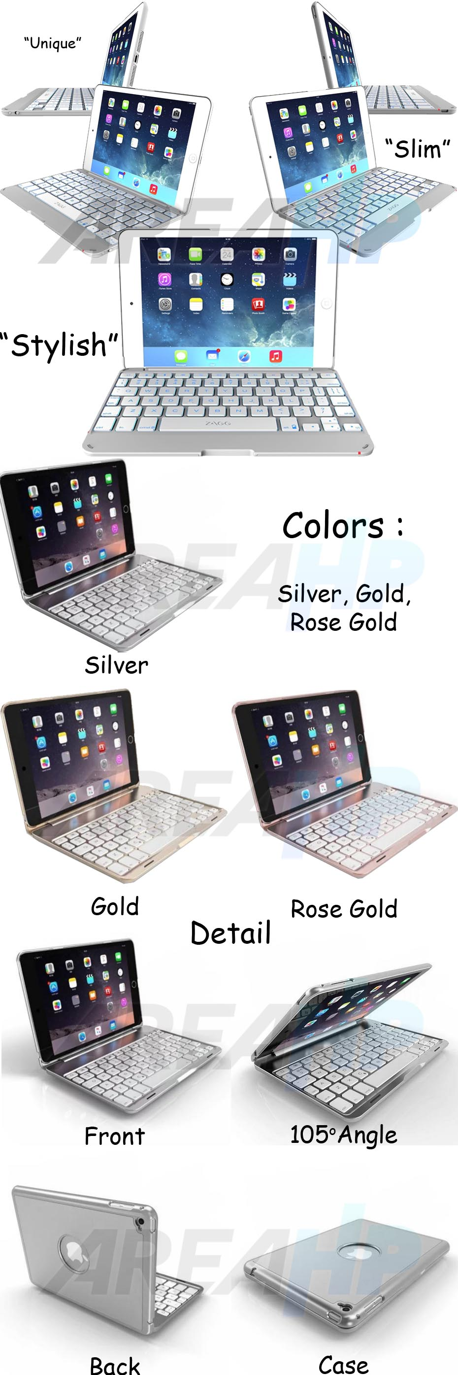 Ultra Slim Keyboard Case Backlight for iPad Mini Overview