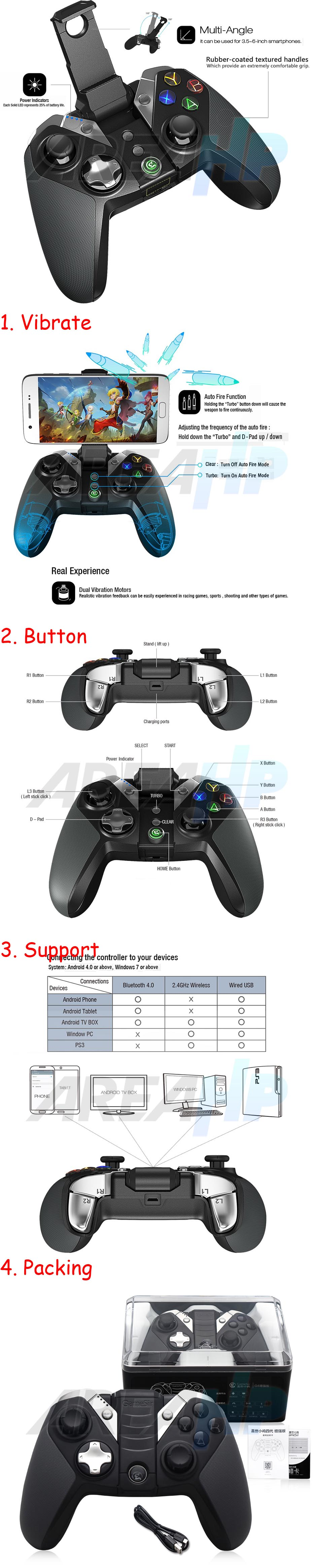 Gamesir Gamepad G4 Bluetooth with Backlight & Vibrate Overview