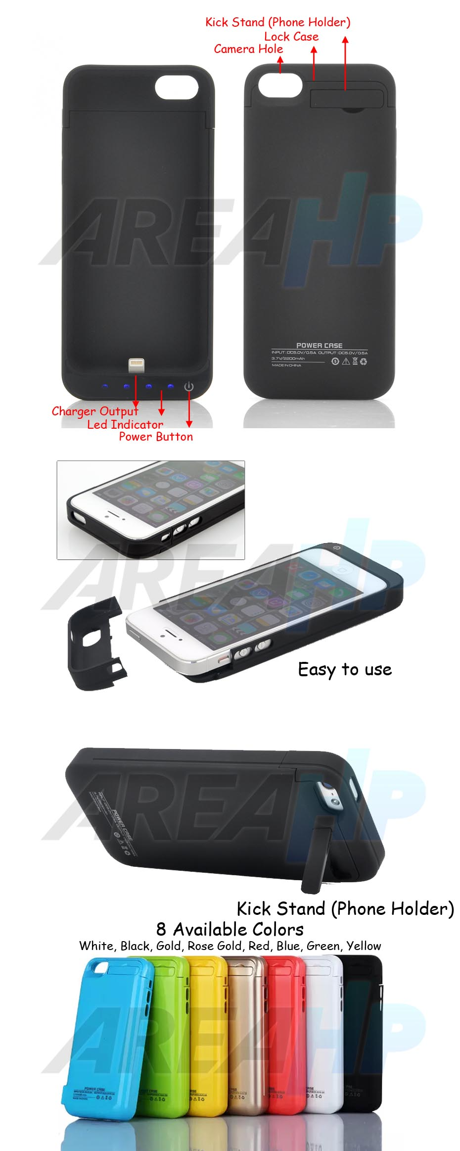 Power Case 2200mAh For iPhone 5, 5C, 5S, SE Overview