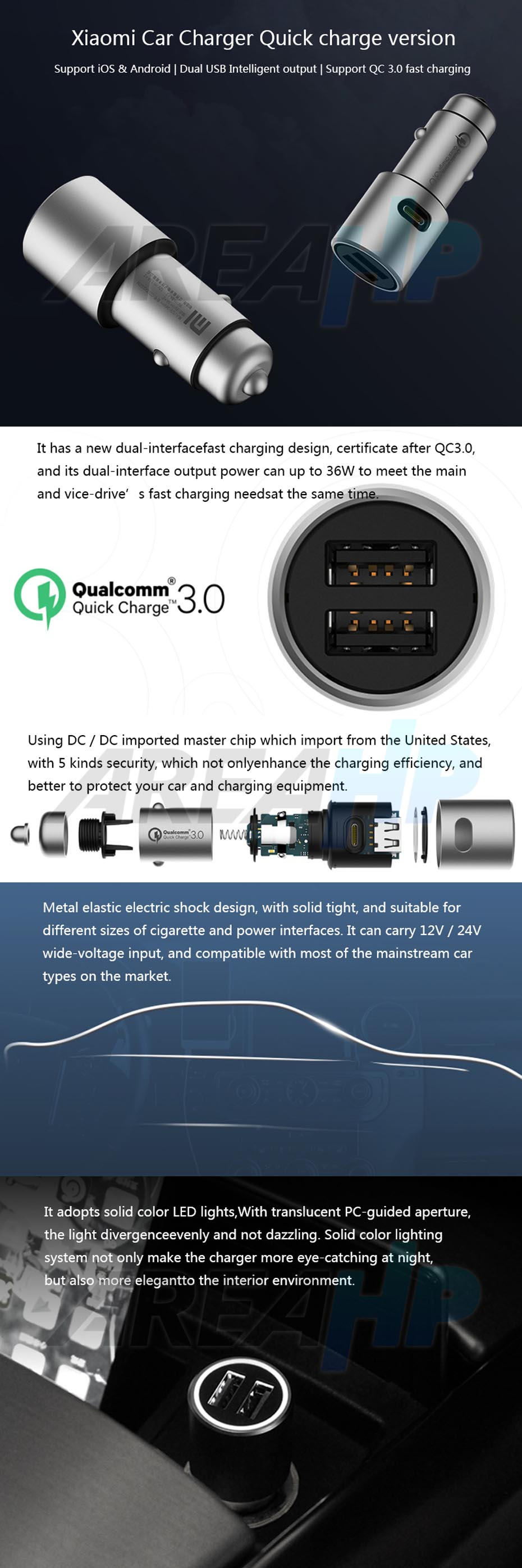 Xiaomi Universal Car Fast Charger QC 3.0 2 Slot USB for All Phone, Tablet Original Overview