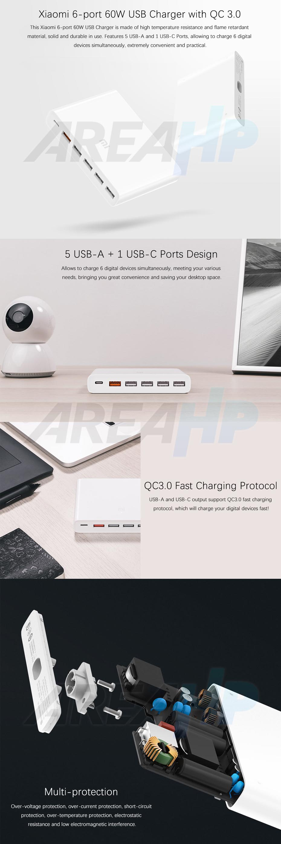 Xiaomi Universal Fast Charger 6 Port 60W Support USB Type C QC 3 Overview