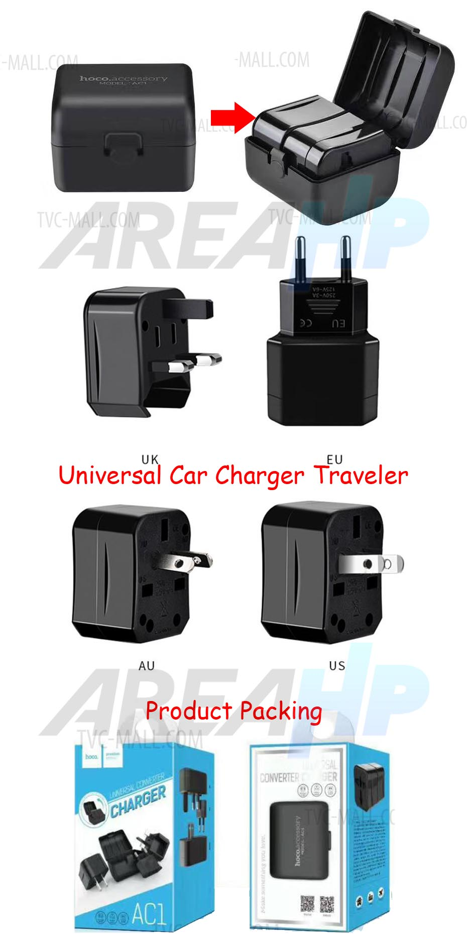 Hoco AC1 Universal Travel Socker Fast Charger USB 3A Overview