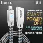 Hoco U11 Zinc Alloy Reflective Knitted Lightning Cable Intelligent Power Off